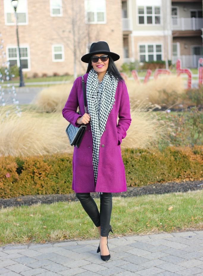 Lands End Boiled Wool Walker Coat, Lands' End Purple Coat, bright Color Wool Coats, Houndstooth Scarf