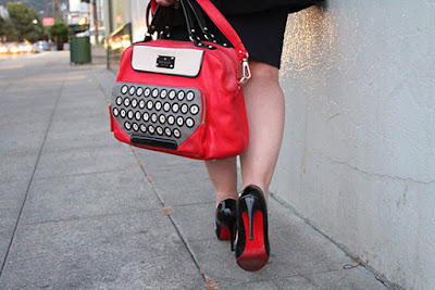 Kate Spade Red Typewriter Bag, Christian Louboutin Heels