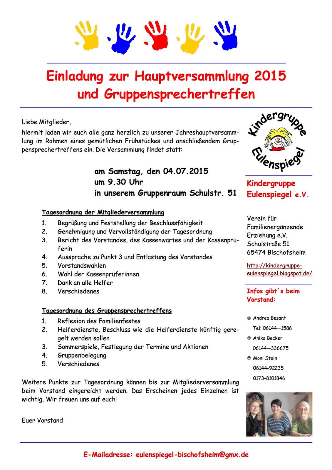 kindergruppe eulenspiegel : einladung zur hauptversammlung am 4.7., Einladung