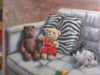 Still life with Teddy and Rabbit painting