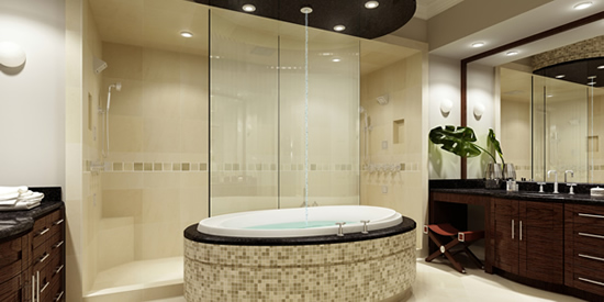 The master en suite bathroom with luxury spa tub