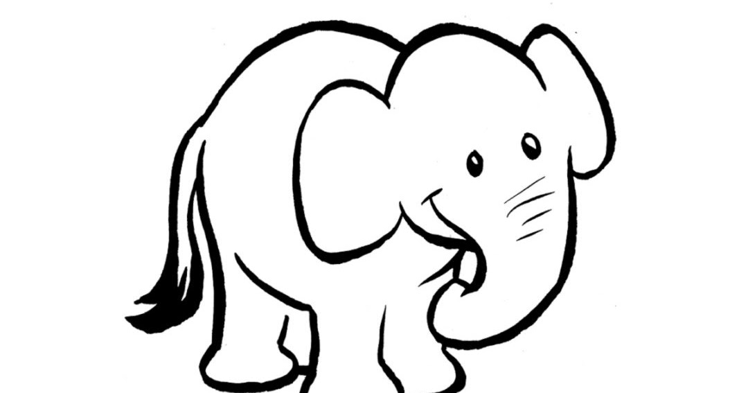 Baby Elephant Clipart Black And White