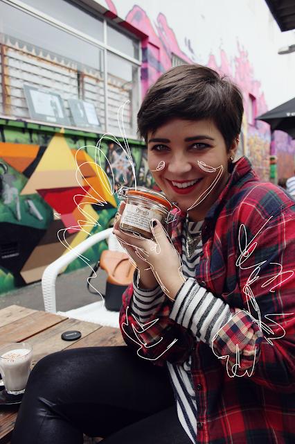 Tartan shirt, mixed prints, tartan and stripes, striped shirt, graffiti cafe