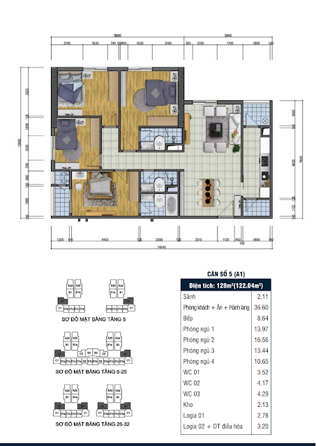 Thiết kế căn hộ số 5 - Chung cư Goldsilk Complex Vạn Phúc