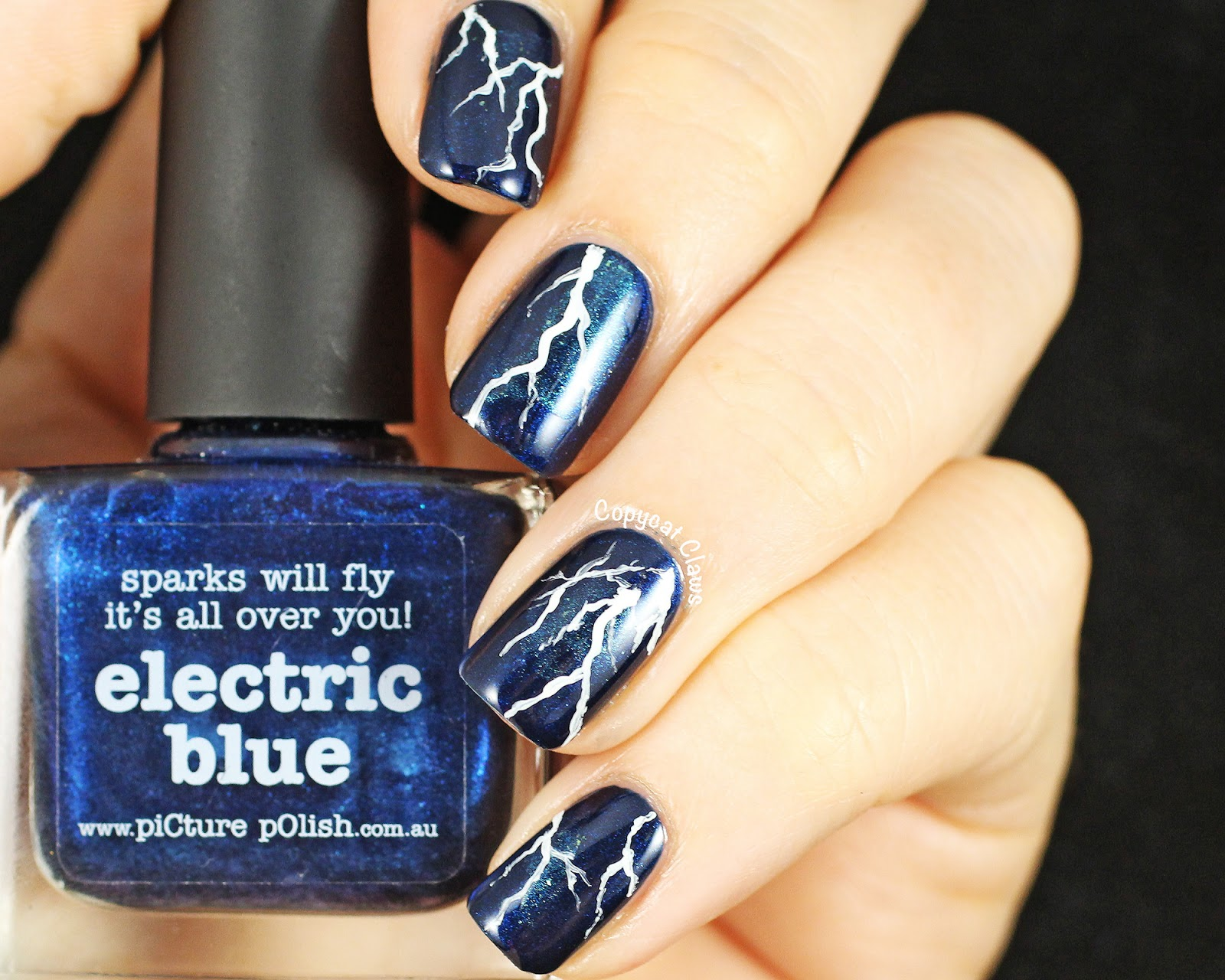 Copycat Claws Lightning Nail Art Picture Polish Electric Blue