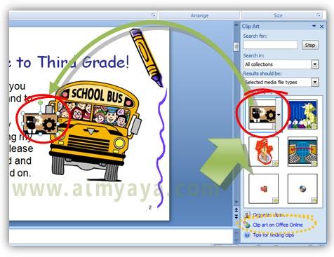 Gambar:  Memilih sebuah movie / anuimasi untuk digunakan dalam slide presentasi
