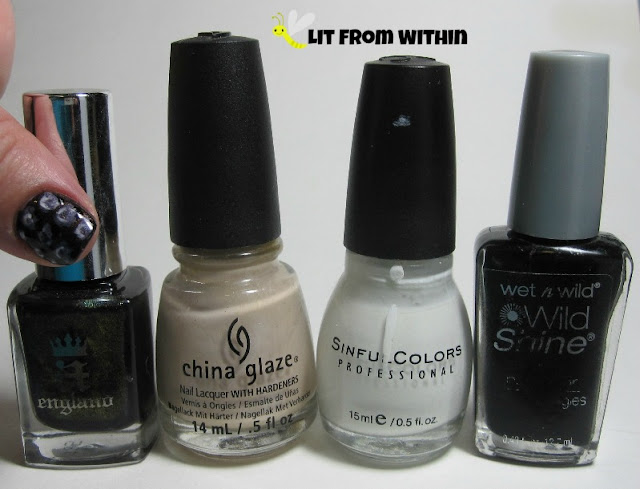 Bottle shot:  A-England Incense Burner, China Glaze Don't Honk Your Thorn, Sinful Colors Snow Me White, and Wet 'n Wild Black Creme.