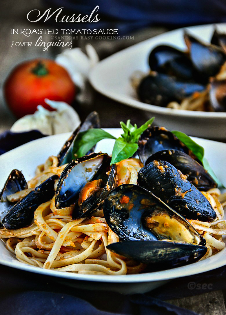 Mussels in Roasted Tomato Sauce over linguine