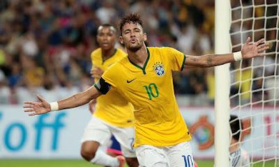 Neymar celebraing goal for Brazil