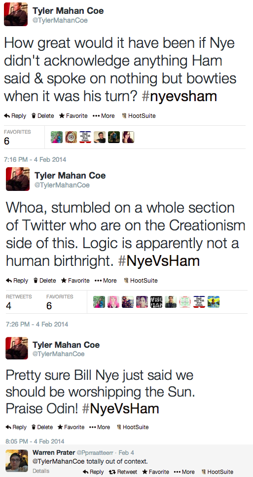 screenshot os Tyler Coe's joke tweets about Creation Debate