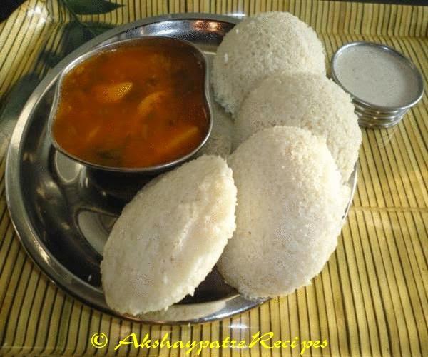serve the rice urad dal idly hot with sambar and chutney