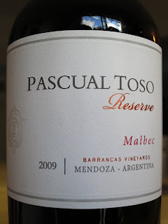 Label photo of 2009 Pascual Toso Reserve Malbec from Argentina