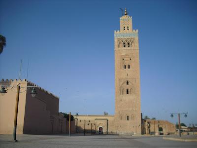 The impressive mosque near the Djemaa el Fna square in Marrakech, Morocco