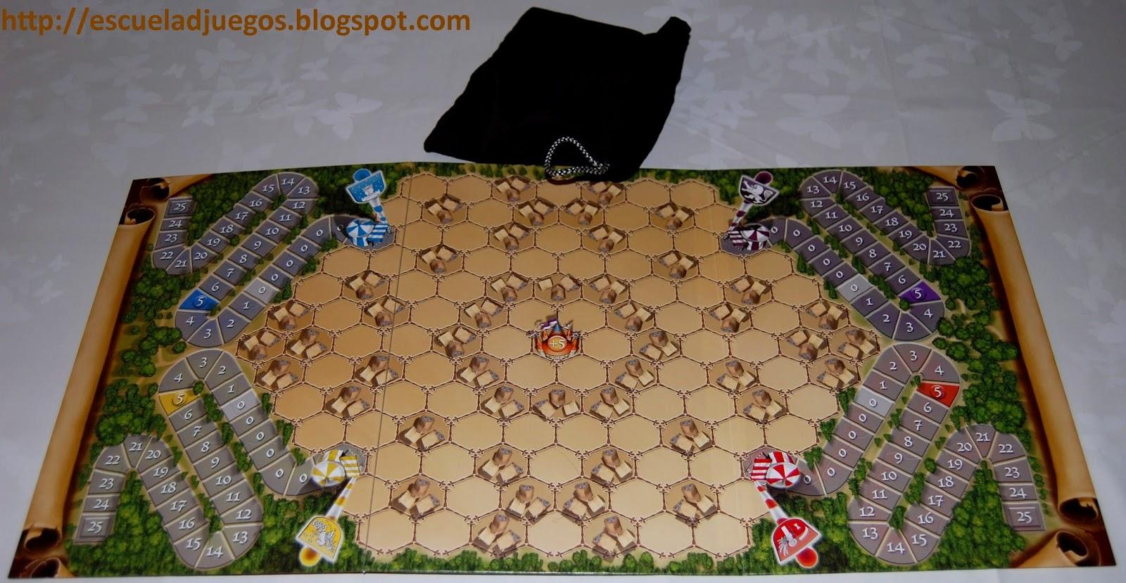 Tablero de juego y bolsa de tela