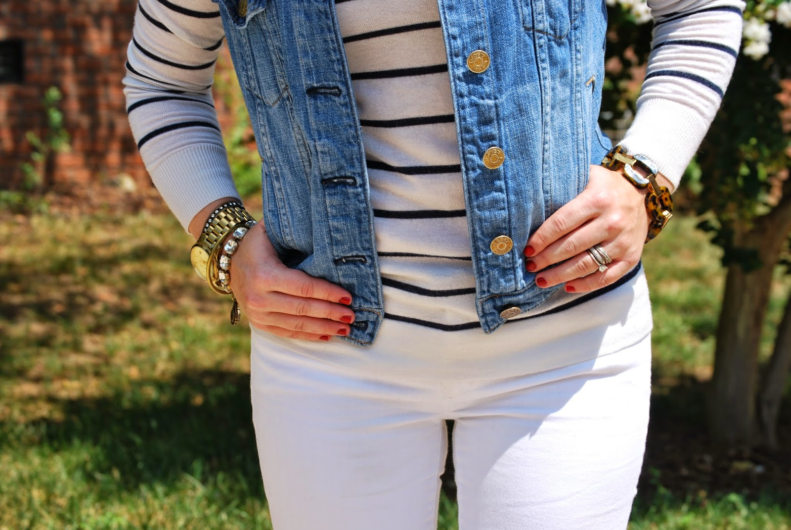 JCrew Denim Vest, Gap White Denim, Ann Taylor