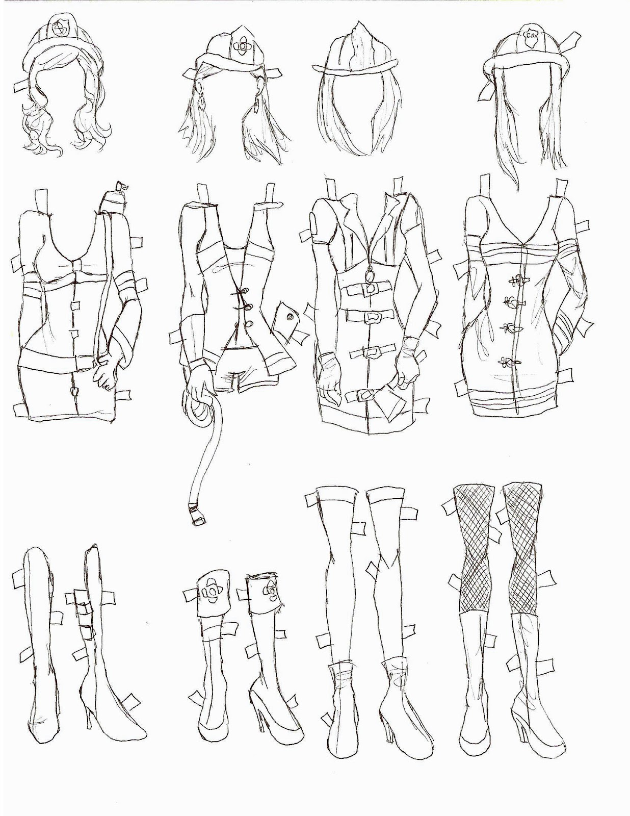 How To Draw Underwear The Doll Has Short Hair, Flats, And Bat Print  Underwear