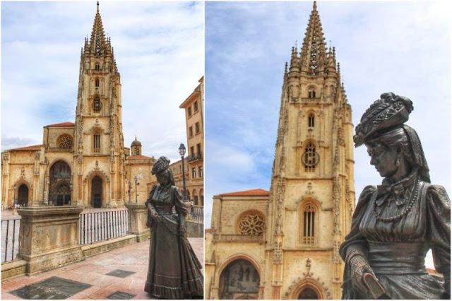 Escultura La Regenta de Mauro Alvarez Fernandez frente a la Catedral de Oviedo