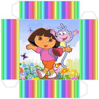 cajita-invitación de Dora la Exploradora para imprimir gratis