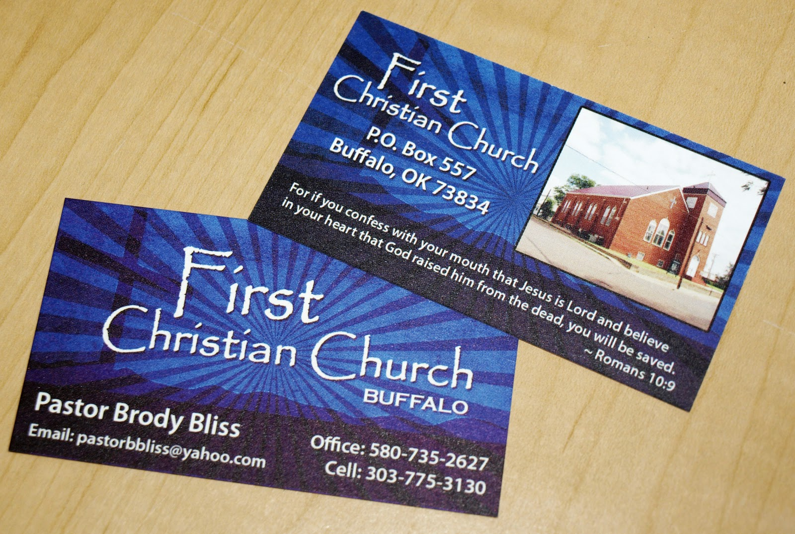 Leslie Earnest Studios: First Christian Church business cards