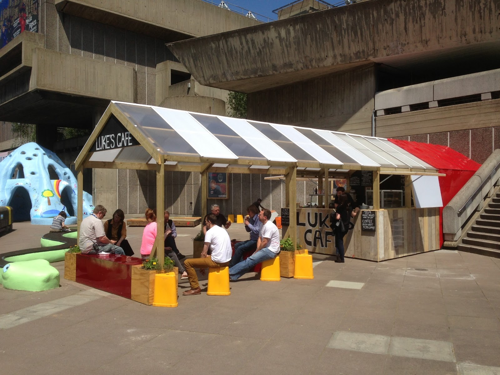 london pop ups luke 39 s cafe summer pop up next to the hayward gallery on the south bank. Black Bedroom Furniture Sets. Home Design Ideas