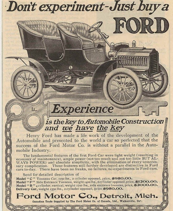 Donu0027t experiment - Just buy a FORD 1905  sc 1 st  Vintage Everyday & Early Advertisements of Ford Motor Company from the 1900s ... markmcfarlin.com