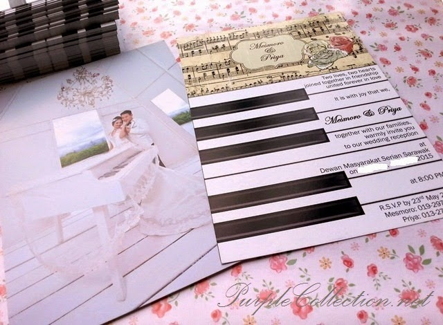 Piano Vintage Wedding Invitation Card, printing, malaysia, kuching, sarawak, kuala lumpur, KLIA, selangor, penang, perak, ipoh, melaka, seremban, johor bahru, singapore, pahang, bentong, kuantan, terengganu, sabah, kota kinabalu, sandakan, miri, bintulu, USA, canada, australia, NSW, sydney, melbourne, adelaide, canberra, international shipping, shipment, flat card, personalised, personalized, custom design, handmade, hand crafted, cetak, kad kahwin, peonies, chinese, floral, indian, malay, roses, piano score, notes, mesmoro & priya, jemputan, sticker, envelope, online, purchase, gallery, purple collection, wedding photo, chandelier, wooden, white, beige, keys, modern, special, unique, one of its kind, affordable, decoration, klang valley, favour, favor, print, offset, digital, quality, good