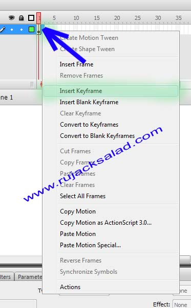 Insert Keyframe - Adobe Flash CS3