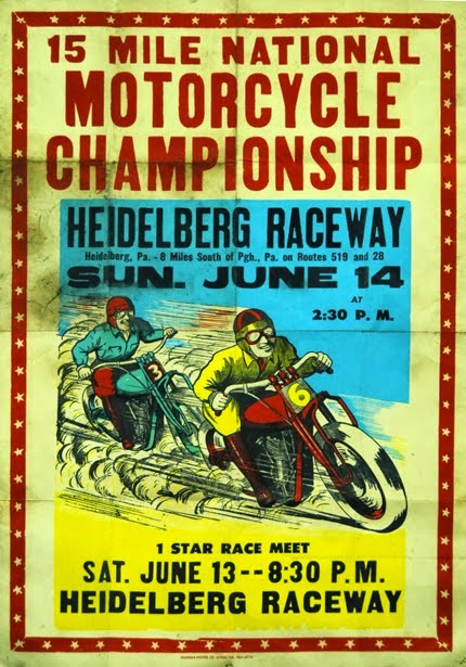 advertising, classic posters, free download, free printable, graphic design, motorcycle, printables, retro prints, sports, vintage, vintage posters, vintage printables, 15 Mile National Motorcycle Championship, Heidelberg Raceway - Vintage Motorcycle Sports Advertising Poster