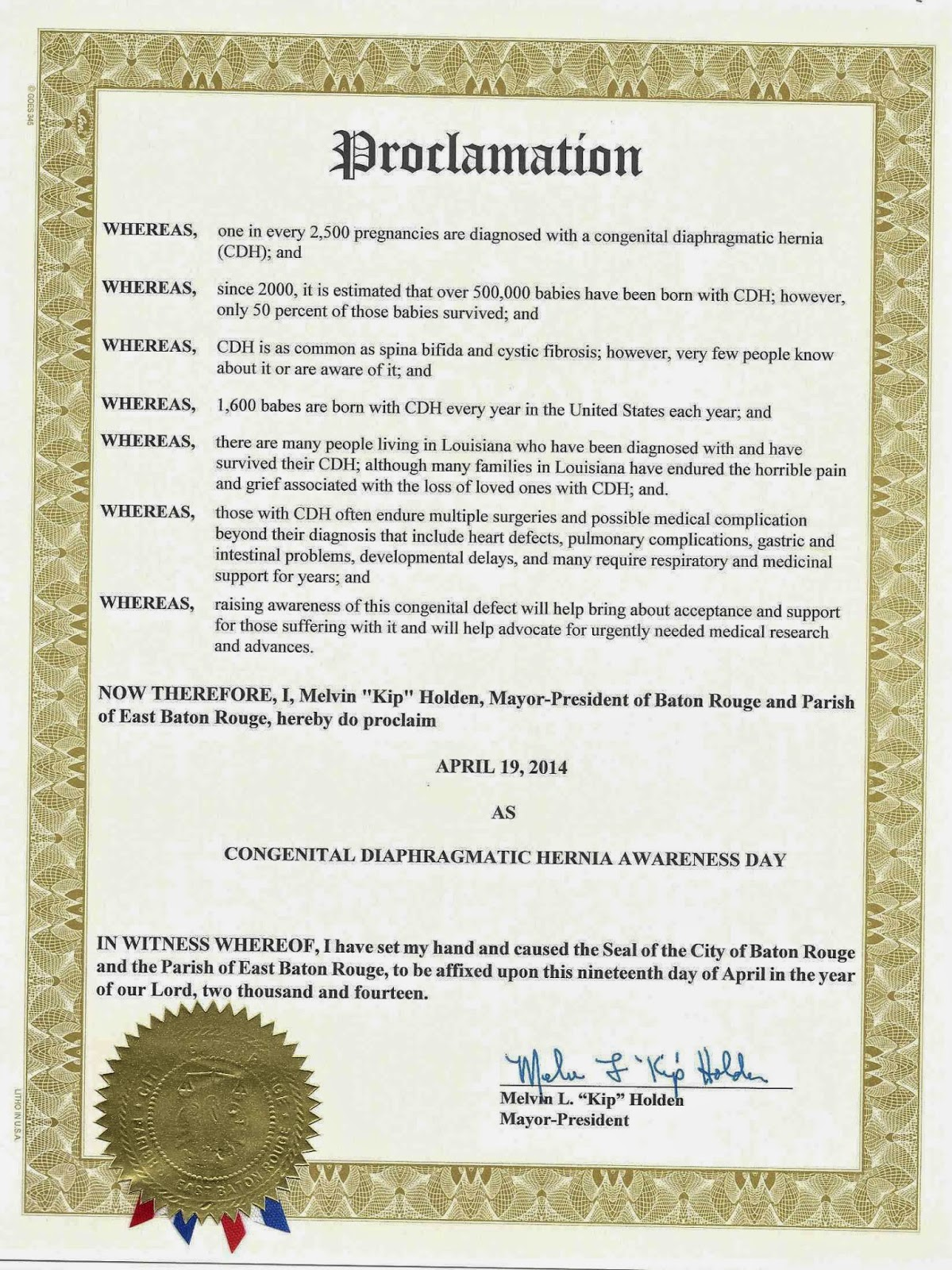 Louisiana proclaims cdh awareness day the towns of new orleans baton rouge hammond gretna thibodaux and alexandria louisiana have proclaimed april 19th a day of congenital diaphragmatic aiddatafo Choice Image
