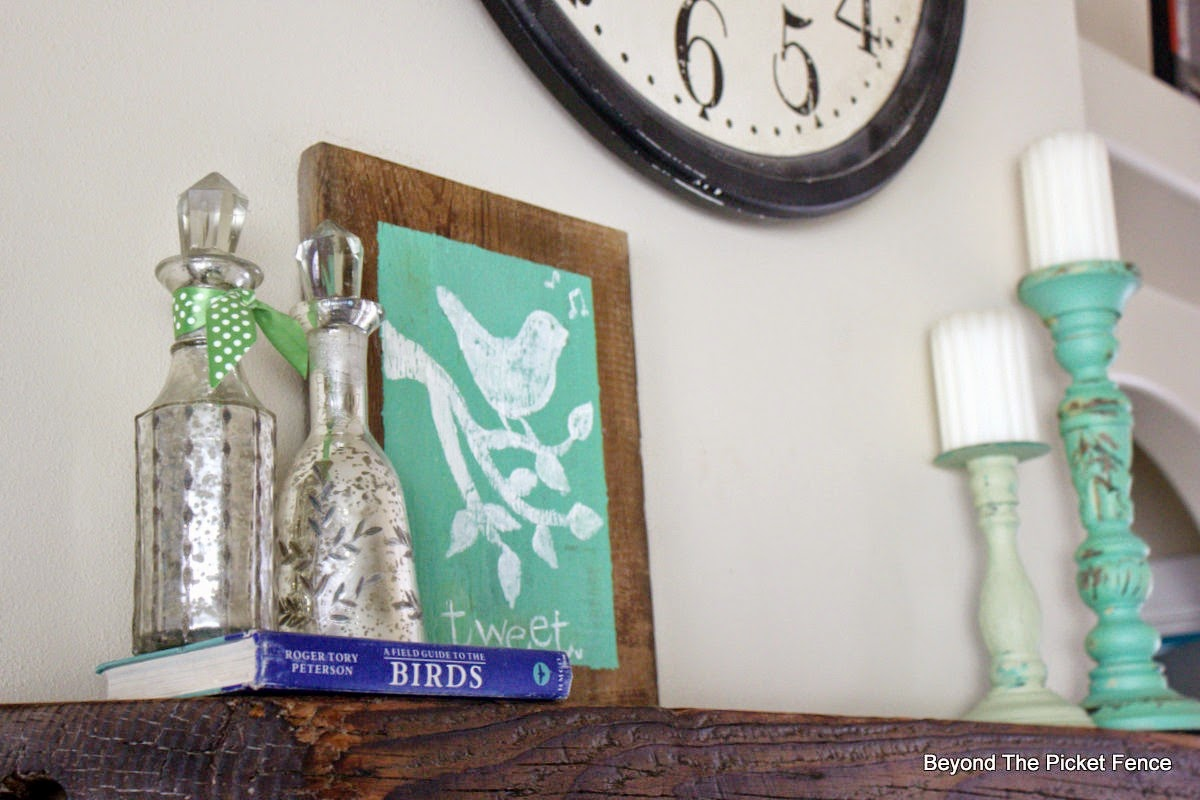 decor, spring, mantel, fusion mineral paint, beyond the picket fence, http://bec4-beyondthepicketfence.blogspot.com/2015/03/spring-mantel-tweet-tweet.html