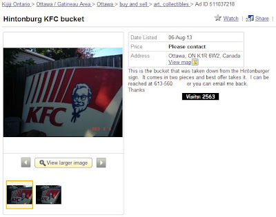 KFC Kentucky Fried Chicken bucket sign for sale in Ottawa, Ontario Canada.