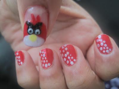 angry bird nail art