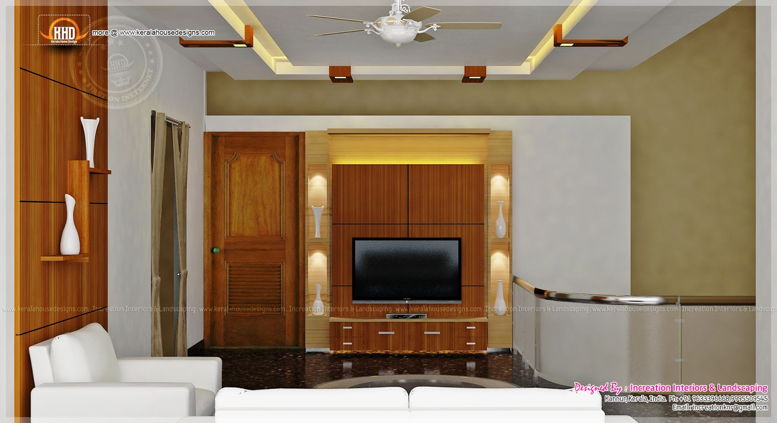 Home interior designs by increation home kerala plans for Small hall interior design photos india