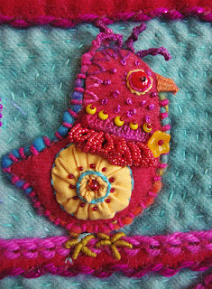 She Has Flown the Coop, a wall quilt by Bunny Starbuck, detail