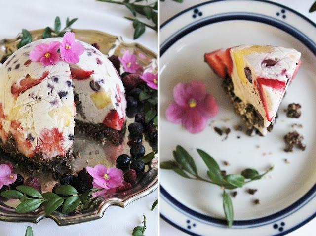 Торт мороженое с фруктами