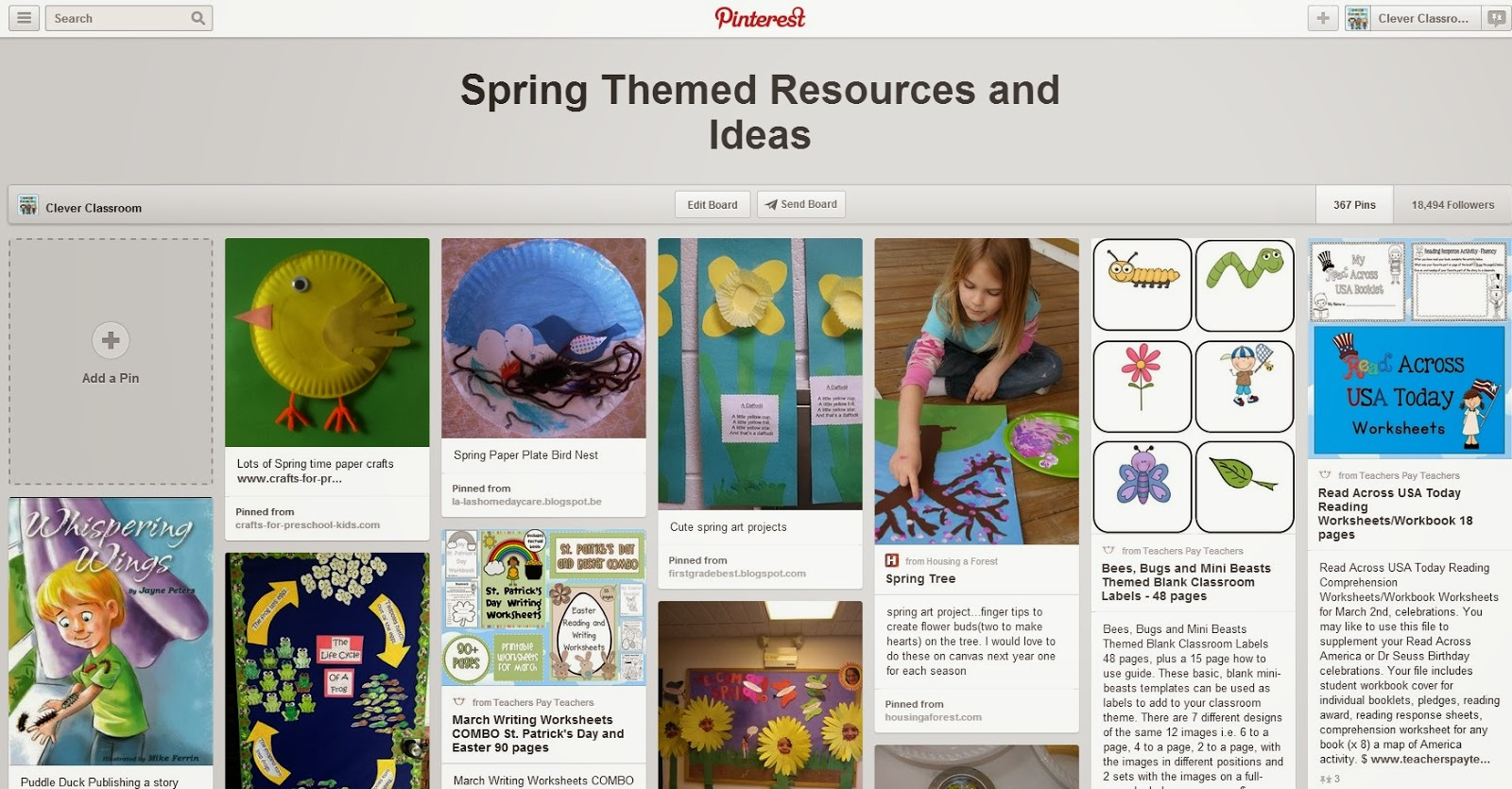 Spring Pinterest board Teaching Ideas and Resources via Clever Classroom
