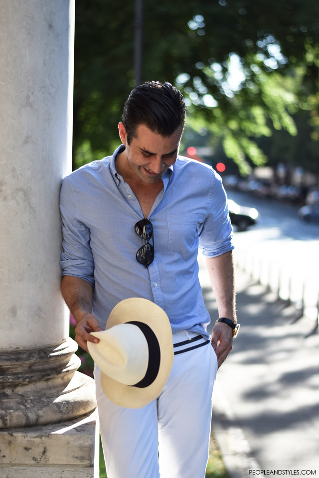 Ante Vrban, arhitektura, moda, dizajn, muška moda, street style. How to wear white pants and Panama hat for guys