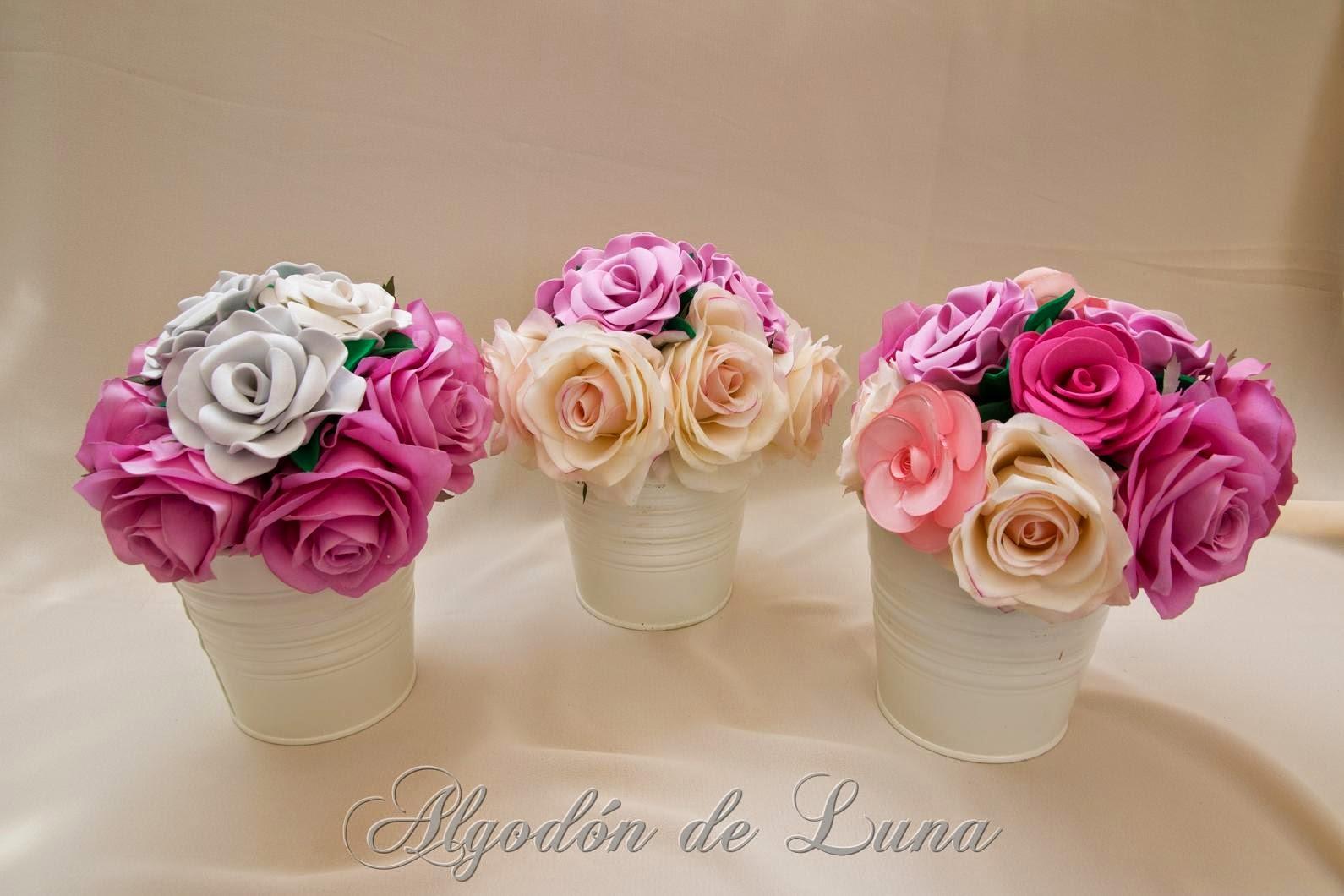 Algod n de luna ramos de flores de goma eva con rosas y - Flores con goma eva ...