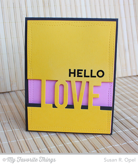Hello Love Card by Susan R. Opel featuring the Laina Lamb Design Friend Request stamp set, and the Wonky Stitched Rectangle STAX and Love Die-namics #mftstamps