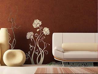 contoh mural pada ruang tamu rumah