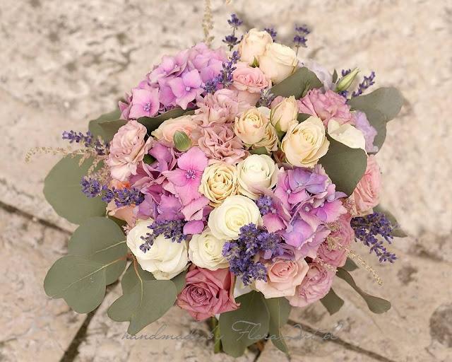 Pastelowy bukiet ślubny - mięta, pudrowy róż i róż rose quartz.