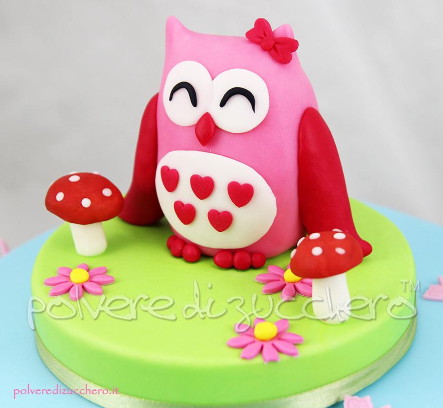 cake design polvere di zucchero pasta di zucchero torta decorata gufo gufetta compleanno bambina