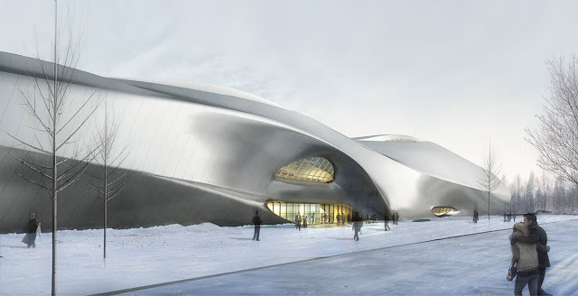 Rendering of new modern museum as seen from the street