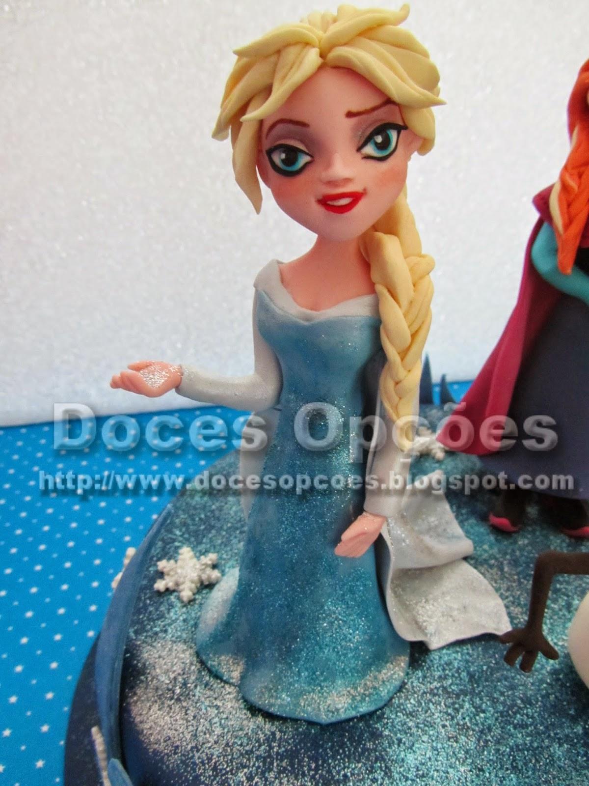 Elsa frozen modelada pasta açucar