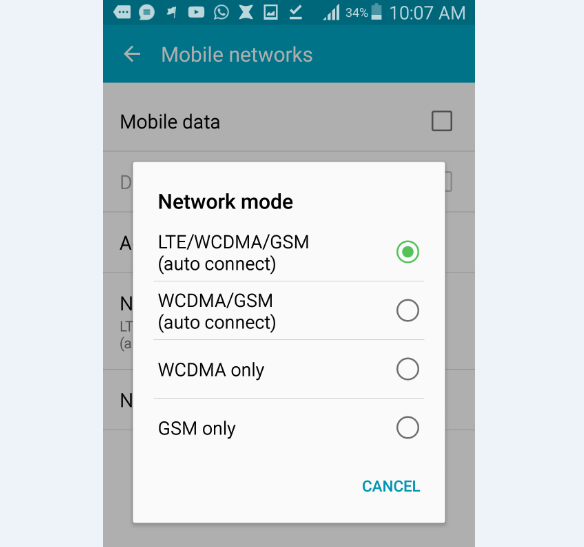 how to change network mode in android