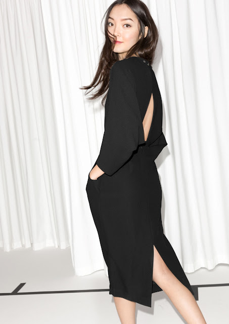 black open back dress,