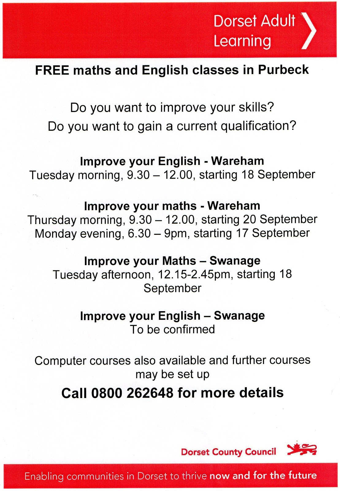 Free Adult Learning Courses. Posted by Bovington HIVE at 11:10