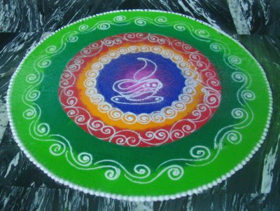Diwali Rangoli designs from several generations together. The designs