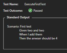 Test output in Visual Studio