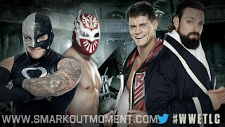 WWE Tables Ladders Chairs 2012 Rhodes Scholars vs Rey Mysterio and Sin Cara Tables Match #1 contenders